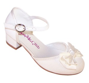 Girls sparkly ivory heeled bridesmaid shoes