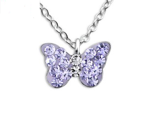 Girls sterling silver purple crystal butterfly necklace and stud earrings set-4611