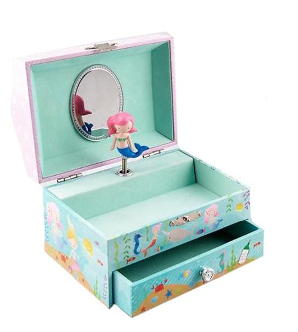 Girls rectangular mermaid musical jewellery box -0