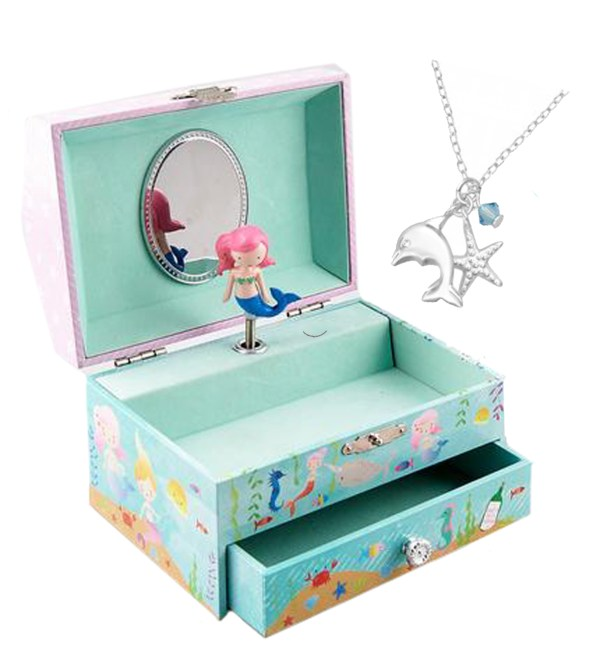 Girls mermaid themed jewellery box and silver dolphin necklace set-0