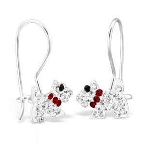 Girls sterling silver crystal dog and earrings set-4597