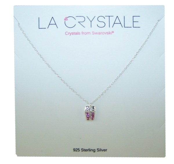 Girls pink crystal ballet shoes 925 sterling silver necklace and stud earrings set-4606