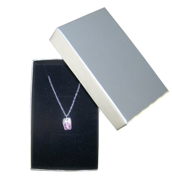 Girls pink crystal ballet shoes 925 sterling silver necklace and stud earrings set-4607