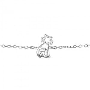 Girls 925 sterling silver bracelet with a silver cat