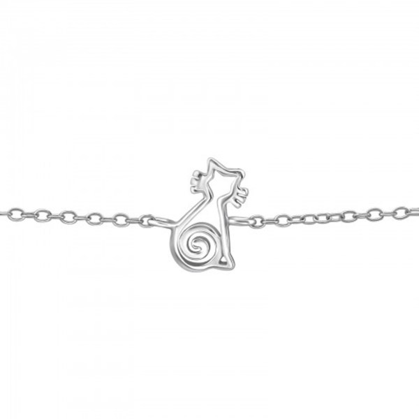 Girls 925 sterling silver bracelet with a silver cat-0