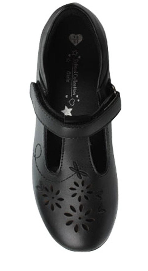 Girls black leather T-Bar school shoes-4764