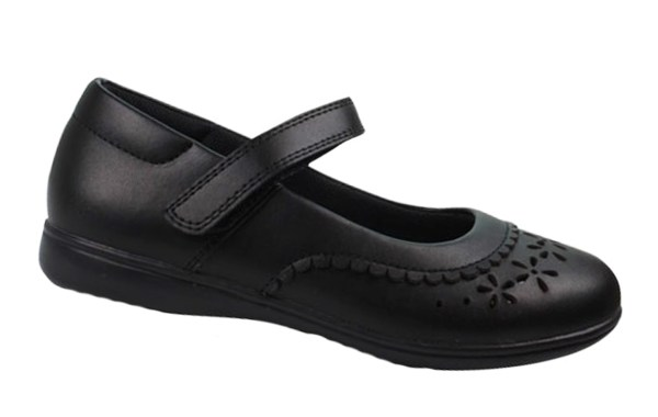 Girls black leather school Mary Jane shoes-4757