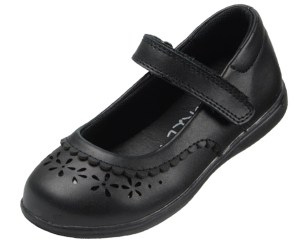 Girls black leather school Mary Jane shoes