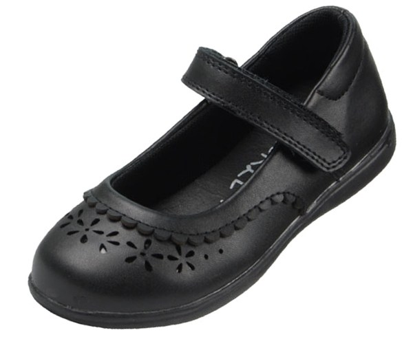 Girls black leather school Mary Jane shoes-0