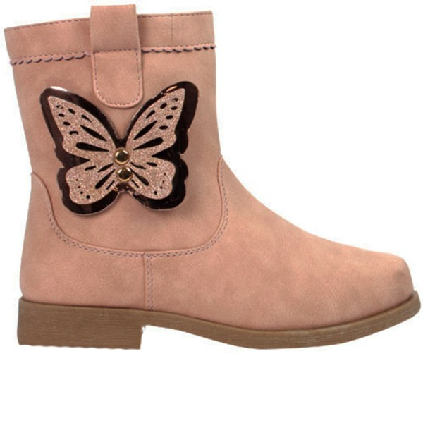 Girls pale pink ankle boots with butterfly trim-0
