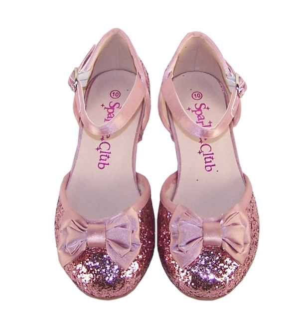 Girls dusky pink glitter low heeled party shoes-4868