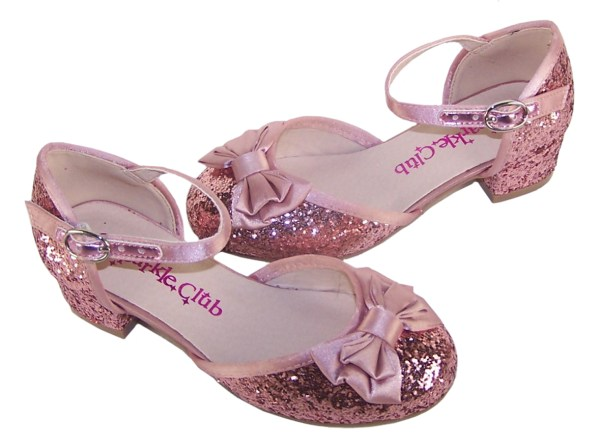Girls dusky pink glitter low heeled party shoes-4869