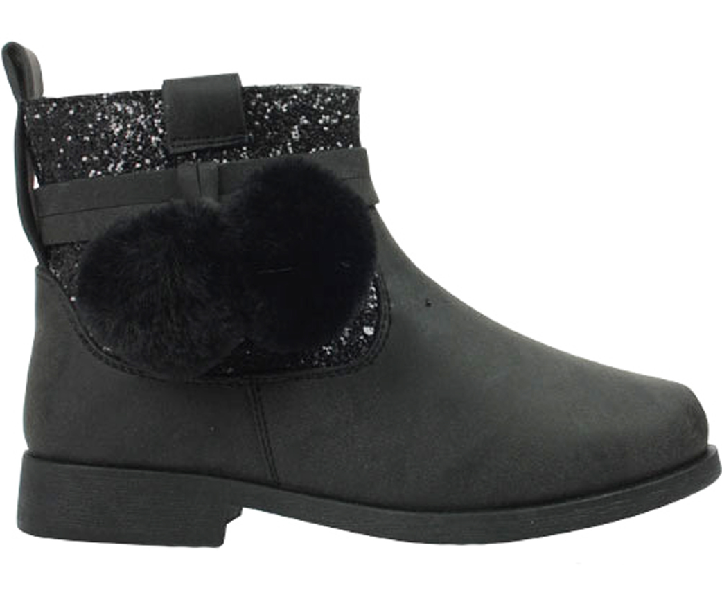 Girls black fashion ankle boots