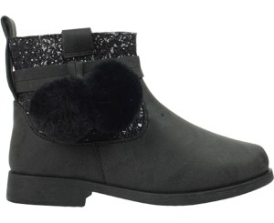Girls sparkly black ankle boots with black pom poms