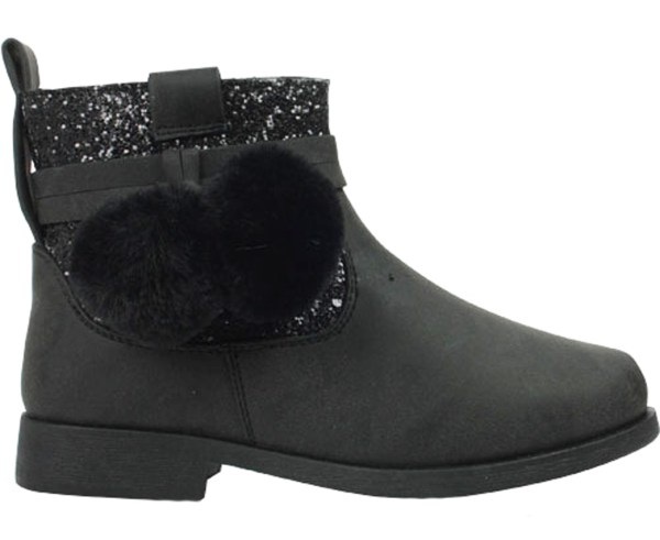 Girls sparkly black ankle boots with black pom poms-0
