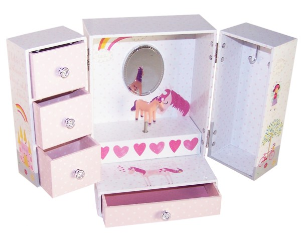 Unicorn and fairies sparkly musical jewellery wardrobe -0