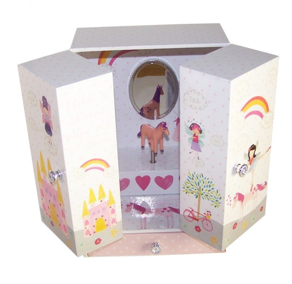 Unicorn and fairies sparkly musical jewellery wardrobe -5165