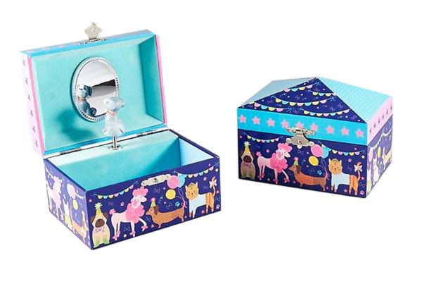 Childrens pets musical jewellery box and silver crystal dog necklace set-5146