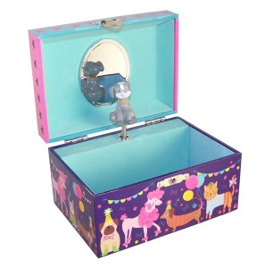 Childrens dark blue pets musical jewellery box