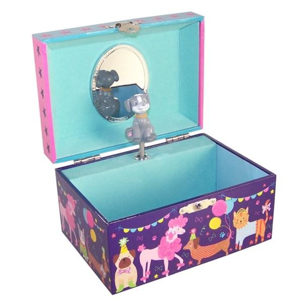 Childrens dark blue pets musical jewellery box -0