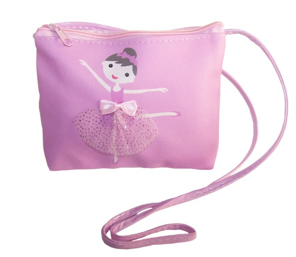 Young girls pink over the body ballerina bag and matching hair clips-5188