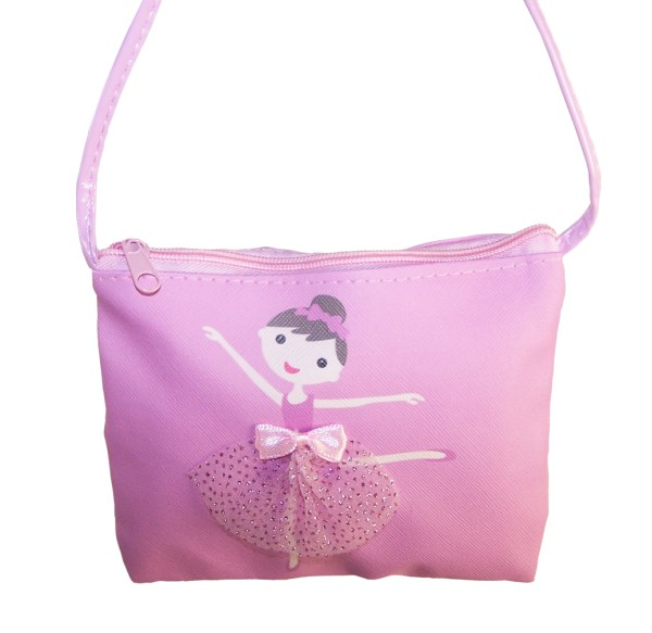 Young girls pink over the body ballerina bag and matching hair clips-5189