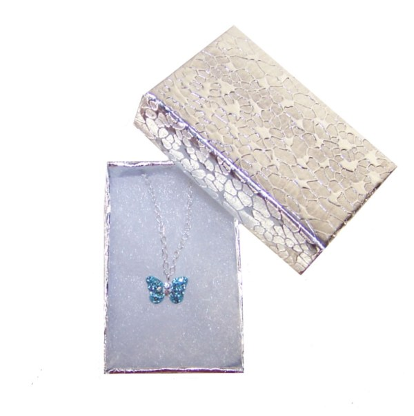 Girls silver blue crystal butterfly necklace and earrings set-5029