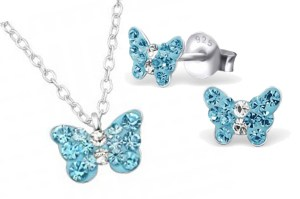 Girls silver blue crystal butterfly necklace and earrings set