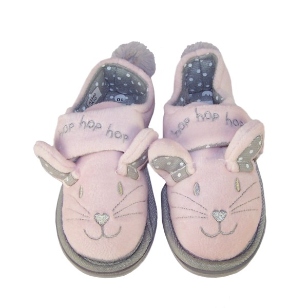 Infant girls pink and silver mouse slippers-5118