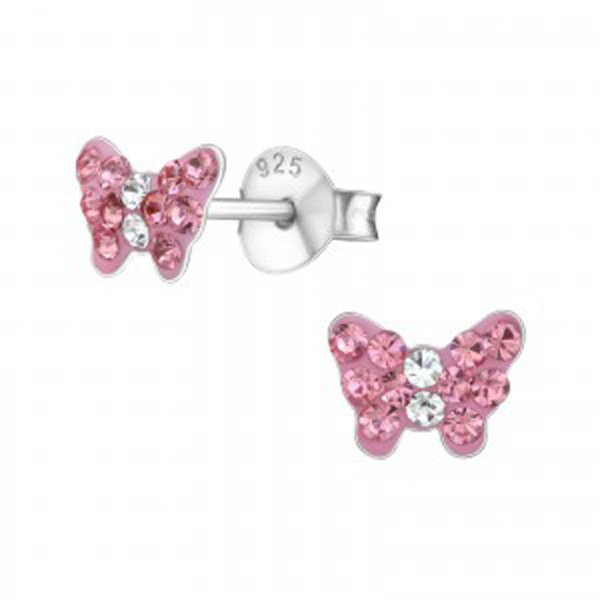 Girls pink crystal butterfly sterling silver necklace and earrings set-5036