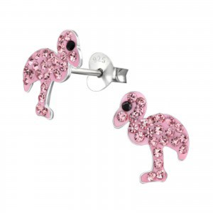 Girls pink flamingo crystal stud earrings