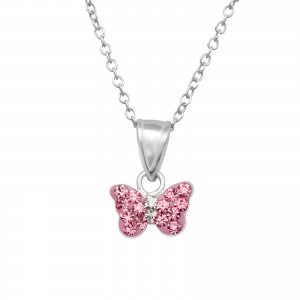 Girls pink crystal butterfly sterling silver necklace and earrings set-5038