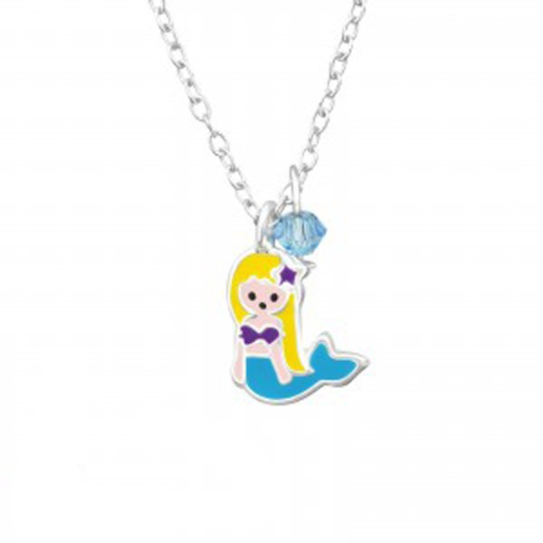 Girls sterling silver and epoxy mermaid necklace with a crystal from Swarovski -0