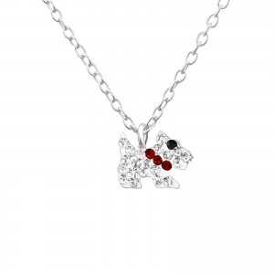 Childrens pets musical jewellery box and silver crystal dog necklace set-5151