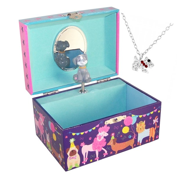 Childrens pets musical jewellery box and silver crystal dog necklace set-0
