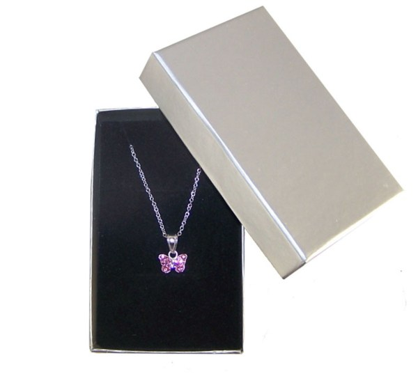 Girls pink crystal butterfly sterling silver necklace and earrings set-5039