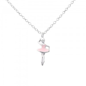 Girls sterling silver and epoxy pink ballerina necklace
