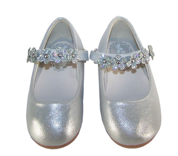 Infant girls silver occasion shoes with sparkly flowers-5263