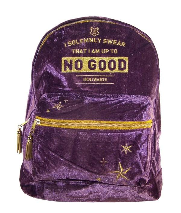 Girls Harry Potter Hogwarts deep purple velvet large backpack-0