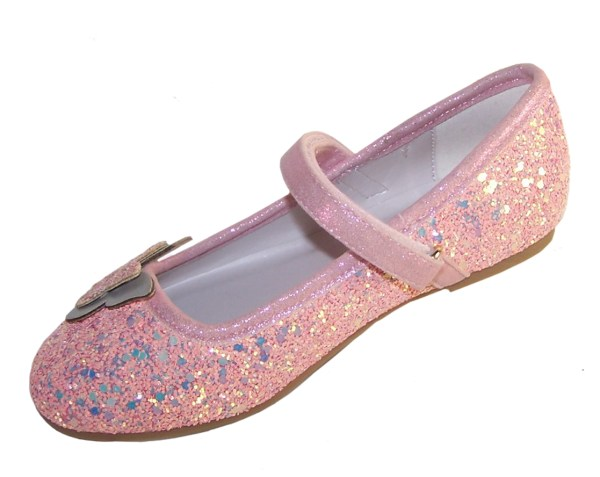 Girls pink sparkly glitter ballerina party shoes with butterfly trim-5309