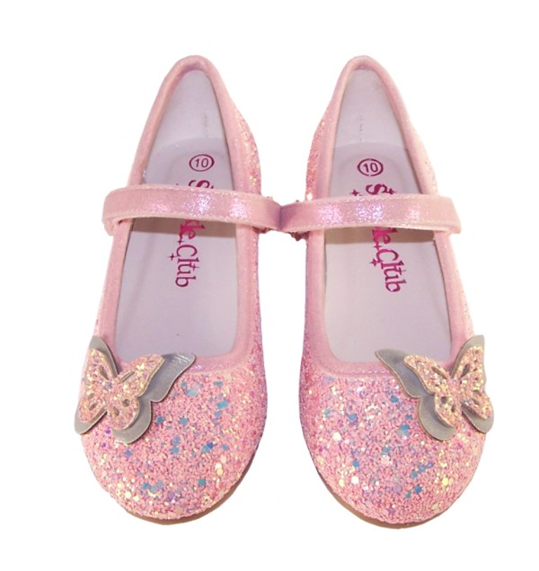 Girls pink sparkly glitter ballerina party shoes with butterfly trim-5311