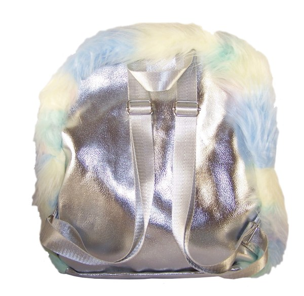 Girls rainbow coloured faux fur backpack-5458