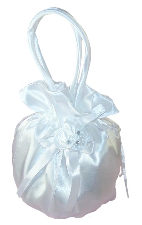 Girls white satin drawstring dolly bag and gloves set-5349