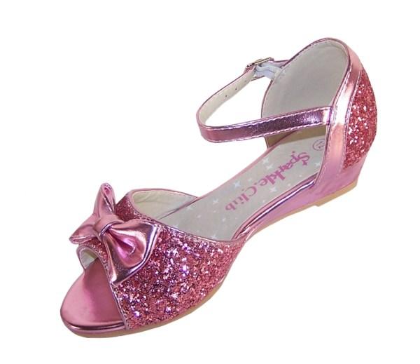 Girls pink sparkly glitter wedge sandals-5380