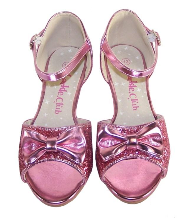 Girls pink sparkly glitter wedge sandals-5378