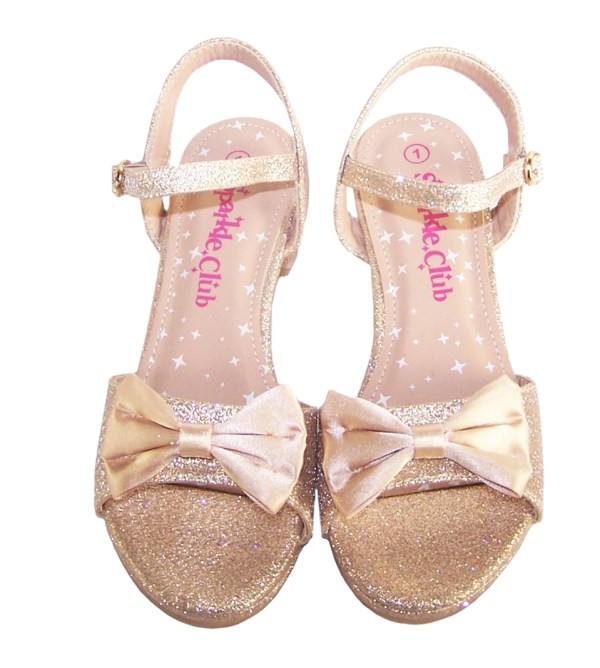 Girls pale gold sparkly party heeled sandals-5442