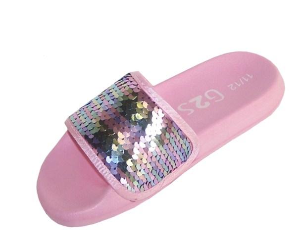 Girls pink sequin slider sandals-5423