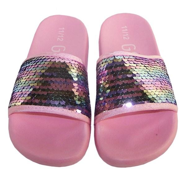 Girls pink sequin slider sandals-5426