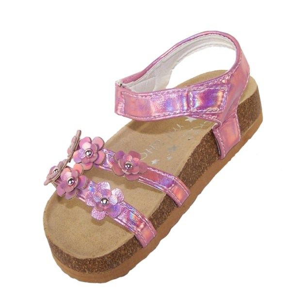 Young girls pink footbed sandals-5485