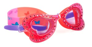 Girls coral pink butterfly shaped fun swimming goggles